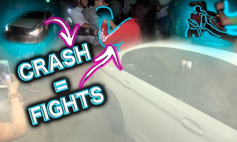 CAR CRASH AT CAR SHOW SPARKS MULTIPLE FIGHTS!