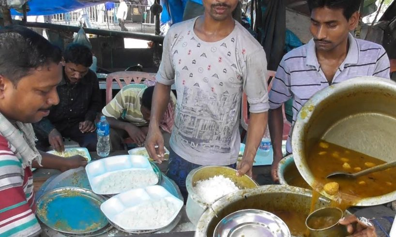 Dim Vat (Rice with Potato Egg Curry) @ 30 rs Plate - Common Man Street Food in Kolkata