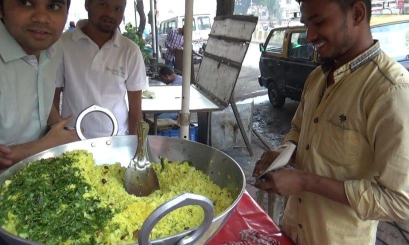 Hard Working Young Man Selling Poha Pulao @ 12 rs Per Plate   Street Food Mumbai