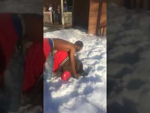 Hood fight Girl get beat up dude jump in