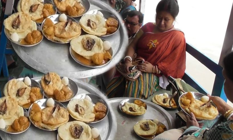 Indian Street Food | Nan Puri Making on Boat | People Enjoying Rainy Day Picnic On Vessel Boat