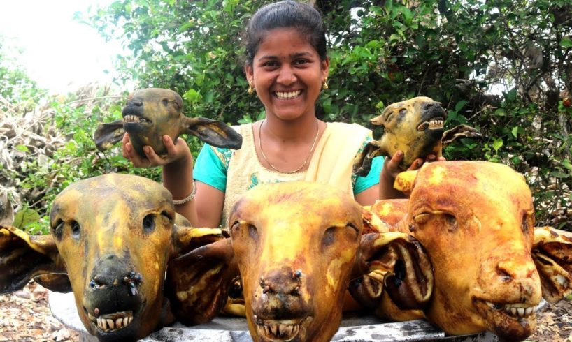 Lamb Head Recipe || Traditional Sheep Head curry By Country foods |మేక తలకాయ కూర