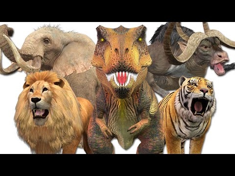 Most Amazing Wild Animals Attacks | Dinosaurs Vs Elephant Tiger Lion Gorilla Craziest Animals Fights