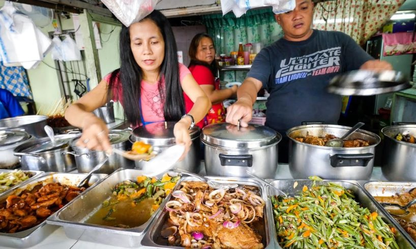Philippines Street Food - AMAZING Filipino Food at Aling Sosing's Carinderia in Manila!