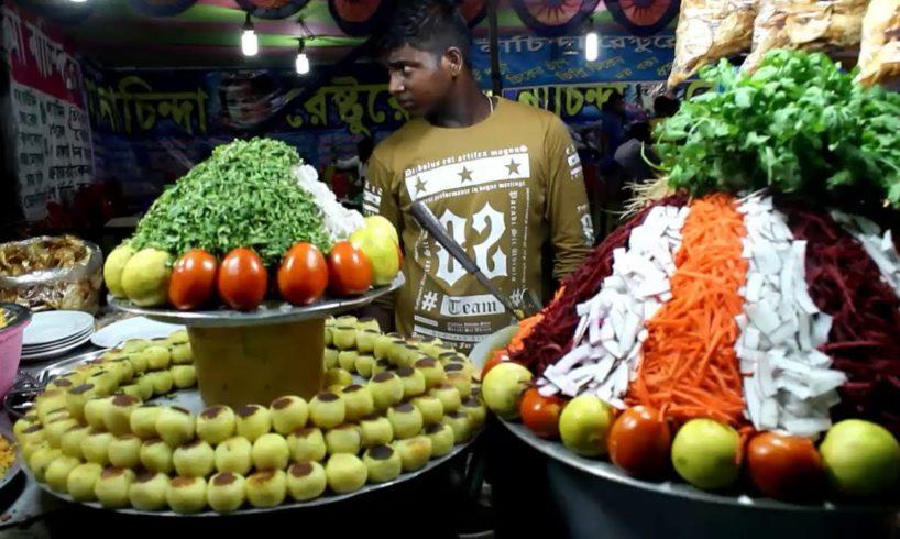 Street Food at Indian Village Fair| Huge Tikia Chaat/Ghugni Chaat Selling at Kolkata Street