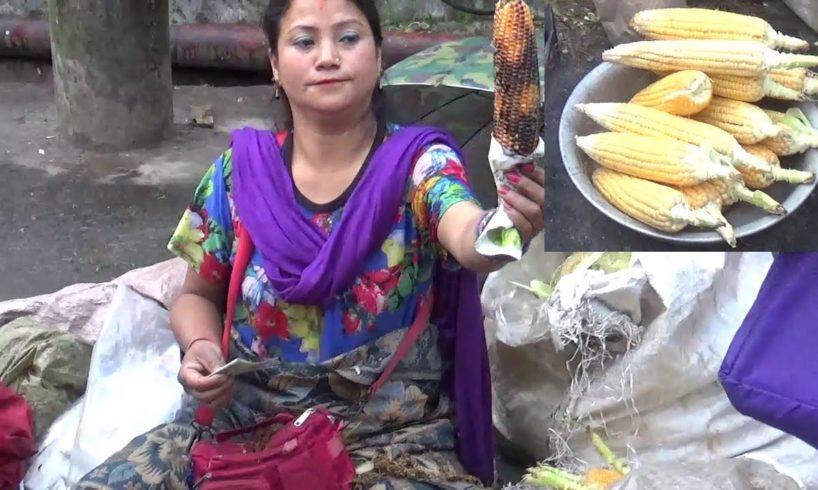 Beautiful Darjeeling Lady Selling Roasted Corn - Street Food at Darjeeling - Street Food India