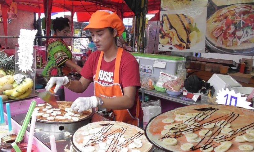Exciting Thai Fruit Crepes ( Strawberry/ Pineapple/ Chocolate ) 50 Bhat (107 Rs) Per Piece