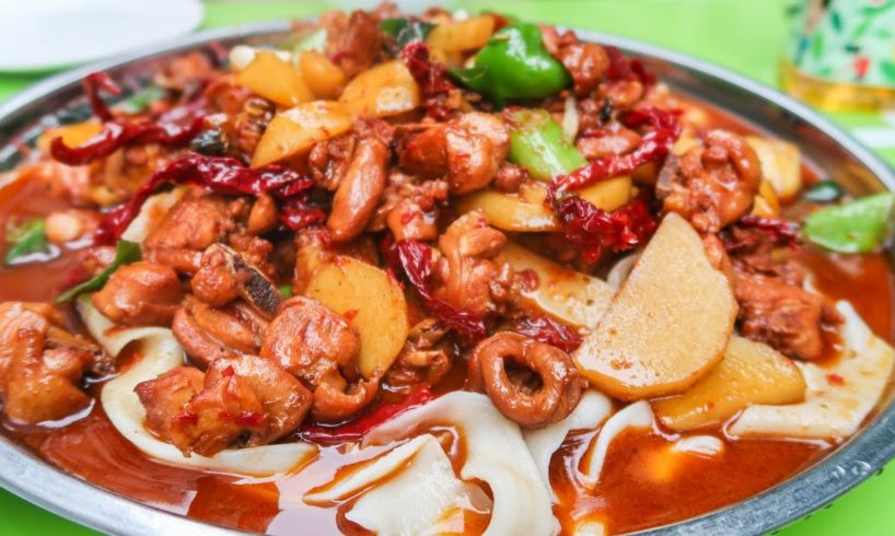 Halal Street Food Journey To Islamic China   Xinjiang HUGE CHICKEN PLATE on the Chinese Silk Road
