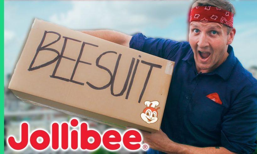 Jollibee review on a MOTORBIKE in a BEE SUIT! Exclusive Vietnam Jollibee Menu