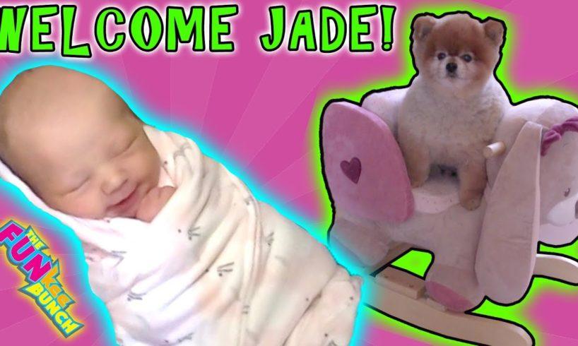 SHE'S HERE!! WELCOME LITTLE NEWBORN JADE!! CUTEST PUPPY DOG RUNS AWAY!!