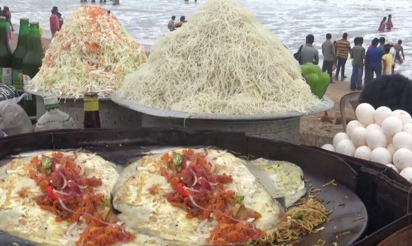 Street Food Selling at Indian Sea Beach Puri | Look How Fast Food Seller Making Egg Roll