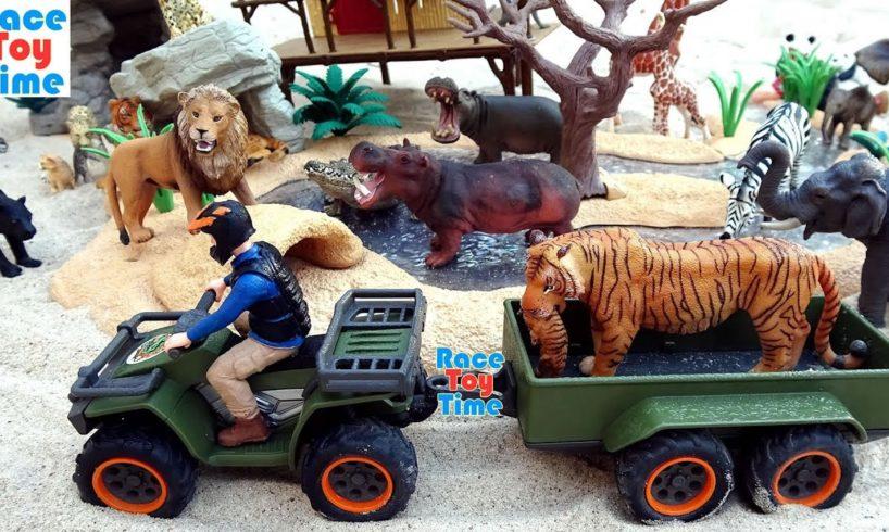 Wildlife Animals Toys Rescue Adventure with Schleich Quad Playset For Kids