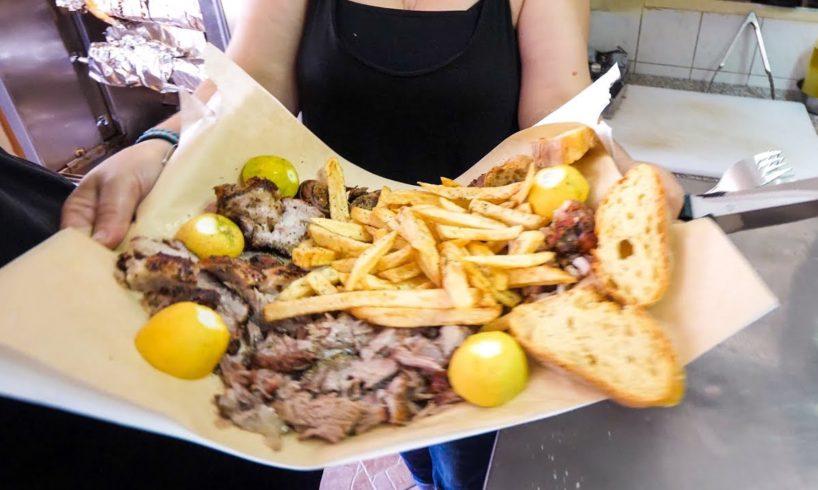 GIANT Greek Meat Feast - Food in Athens!