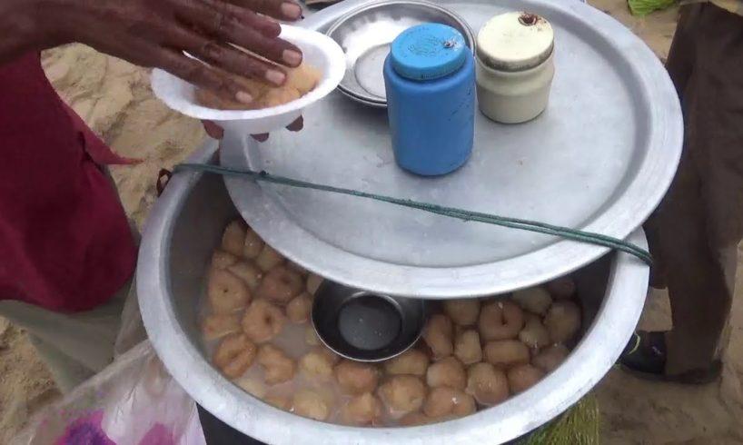 People Eating Fast Food and Enjoying Sea Beach   Indian Street Food at Puri Beach Orissa