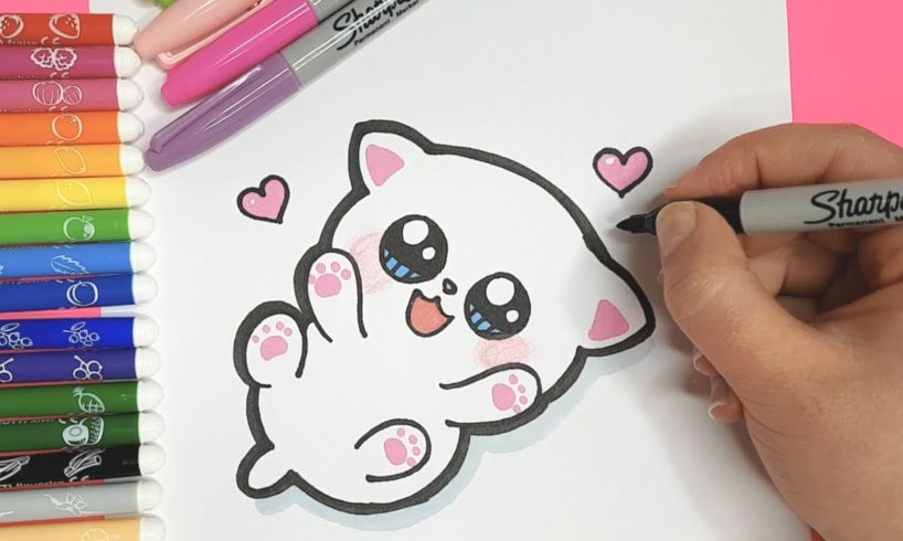 How to Draw a CUTE BABY KITTEN for KIDS - LET'S DRAW KIDS