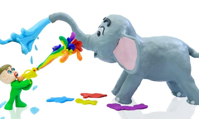SUPERHERO BABY ANIMAL RESCUE ELEPHANT ? Animation Cartoons Play Doh