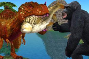 Angry Gorilla 3D Vs Dinosaur Fighting Animation Short Film   Cartoon Animals Funny Short Movie