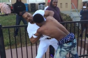 Hood street fight!!! ||Guy talks shit||