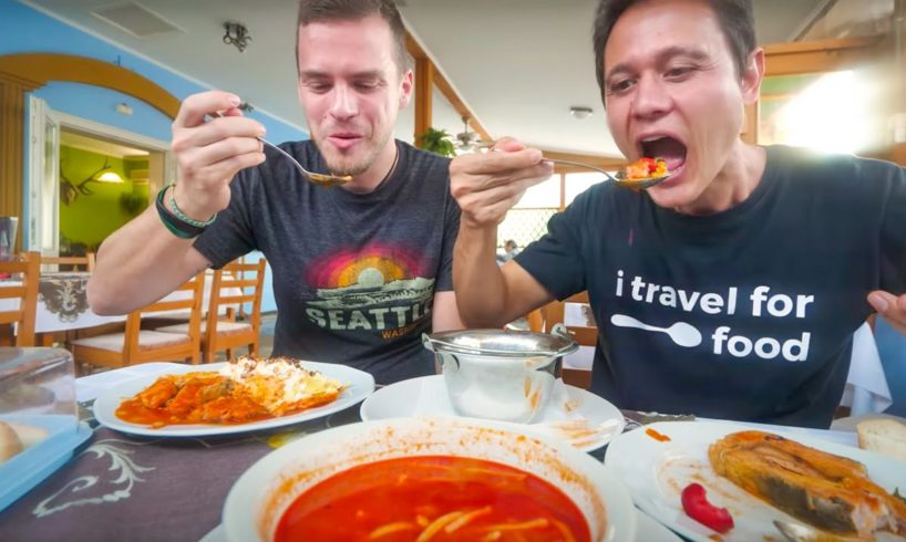 Europe's SPICIEST FOOD 🌶️🌶️ !! Hungarian Fisherman's Soup 🐟 in Hungary!