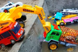 Excavator Toys Rescues Police Car Animals Truck Tayo The Little Bus Transport Trucks for Kids