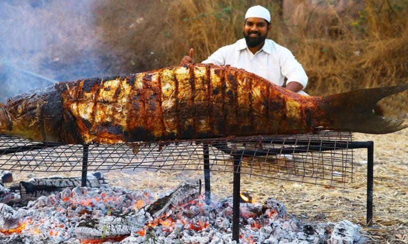 40 Kg Full Fish BBQ Recipe || Big Murrel Sea Fish Grill Recipe || Nawabs kitchen