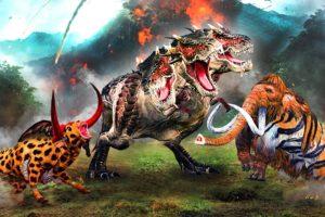 Dinosaur vs Mammoth Elephant Woolly Buffalo Cheetah Bull Fight 3 Headed T-rex Mammoth Animal Fight