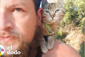 Hombre es adoptado por una gatita mientras viaja el mundo | El Dodo