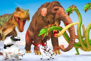 Mammoth Elephant VS T-rex Dinosaur Hydra Attack Cow Cartoon Polar Bear Rescue Mammoth Animal Fight