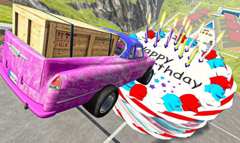 BeamNG.drive Game - Crazy Cars Jumping Over Birthday Cake with Candles | Cars Crashes Compilation