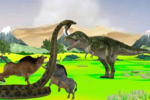 Dinosaur Vs Giant Snake Fight T-rex Chase for Buffalo Monkey and Rat Giant Animal Fights Video