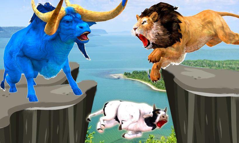 Giant Bulls vs Zombie Lions Animal Fight  Giant Bulls Transformation into Zombie Bulls