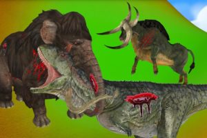 zombie mammoth vs dinosaur fight | animal battle fight | elephant story
