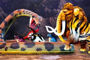 Woolly Mammoth Tiger Vs Titanoboa Snake Giant Bull Fight Cartoon Cow Rescue Mammoth Animal Fight