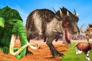Zombie Mammoth VS Giant Bull T-rex Dinosaur Animal Fight Cartoon Cow Rescue Giant Bull Animal Battle