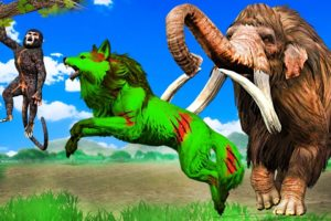 Zombie Wolf vs Woolly Mammoth Fight Funny Monkey Saved By Mammoth Elephant Giant Animal Fights Video